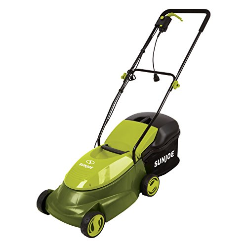 Sun Joe MJ401E 4-Inch 13-Amp Electric Lawn Mower w/Collapsible Handle for Storage, 3-Position Height Control, 10.6-Gallon Bag, Green
