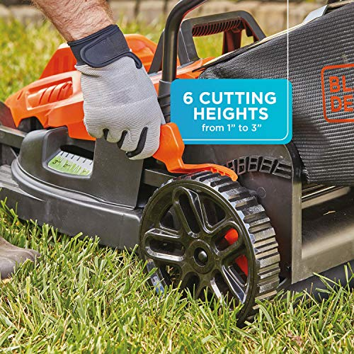 BLACK+DECKER Electric Lawn Mower with Bike Handle, 15-Inch, 10-Amp, Corded (BEMW472BH)