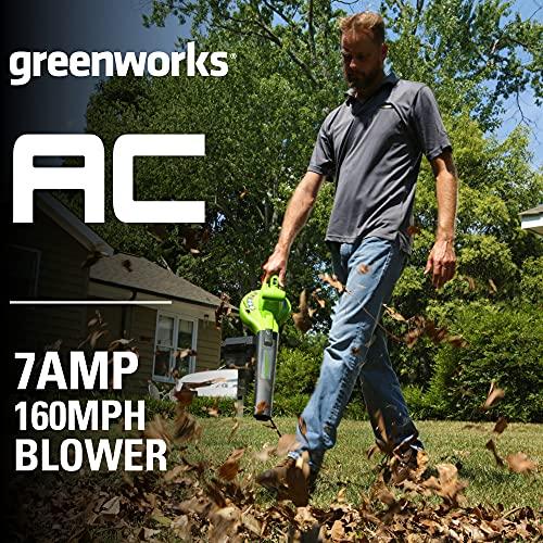 Greenworks 7 Amp 160 MPH/150 CFM Single Speed Electric Blower, 24012